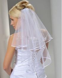 $enCountryForm.capitalKeyWord Australia - Wholesale Simple White Ivory Tulle Wedding Veils Two Layer Ribbon Edge Custom Made Bridal Accesories Hot