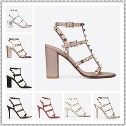 studs sandals Australia - Designer Pointed Toe Studs Patent Leather rivets Sandals Women Studded Strappy Dress Shoes valentine 10CM 6CM high heel Shoes 44520