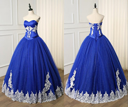 $enCountryForm.capitalKeyWord Australia - Royal Blue Ball Gown Evening Prom Dress Formal Gowns Sweetheart Corset Back White Lace Applique Sequins Sweet 15 Party Quinceanera Dress