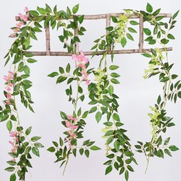 flower creepers 2019 - 2m Artificial plants Creeper green leaf Ivy vine For Home Wedding Decora diy Hanging Garland Artificial Flowers cheap fl