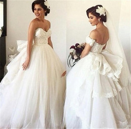 princess wedding dresses detachable skirt Canada - Romantic Elegant Sweetheart Tulle Wedding Dresses With Detachable Train Bead Lace Princess Off the Shoulder Bride Gown