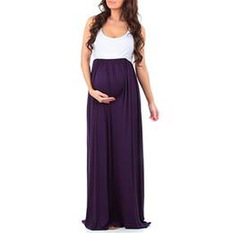 ff51cf52d8 Vestido de maternidad Vestido de mujer embarazada Vestido de gran tamaño  femenino Sin mangas Empalme Cuello redondo Color sólido Patrón de mosaico 61