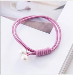 HB009 Neue koreanische handgewebte Kopfseil-Doppelschichtgröße Perle verknotet Haarseilhaarring einfaches Gummiband Kugelkopfstück 20 Stück / Beutel