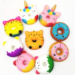 SquiShy donut keychain online shopping - Squishy cm Kawaii Gift Soft Panda Unicorn Doughnut Jumbo Squishy toy Cute Phone Straps Slow Rising Squishies Donut toy Keychain kids toys