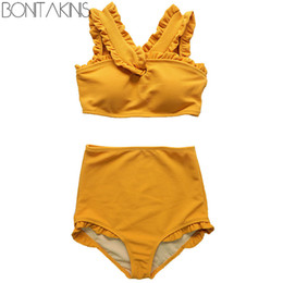$enCountryForm.capitalKeyWord UK - Bonitakinis 2019 Korean version High Waist Bikini Set Solid Orange Swimsuit Women Young Lady Sweet Swimwear biquini