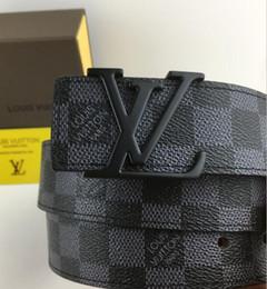 Letter m beLt buckLes online shopping - 2018 Hot selling new Men womens Black belt Genuine leather Letter belts brass belt for gift top seller box
