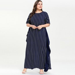 Discount kaftan short dress - 2019 Muslim Abaya Striped Long Dress Ramadan Ruffles Short Sleeve kaftan Summer Women islamic Dress vestidos Plus Size M