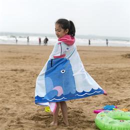 Kids Wrap Towel NZ - Kids Beach Towel 100% Cotton Cartoon Children Towels Bathroom Shower Towel Wearable Swimming Beach Wrap Bath Boy and Girl 60YJ10