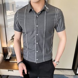 Wholesale ironing mens dress shirts resale online – 2020 Summer Striped Shirts For Men Brand New No iron Anti wrinkle Mens Dress Shirts Slim Fit Casual Business Blouse Men XL XL