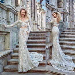 Vintage pocket trumpet online shopping - Sexy Mermaid Vintage V Neck Wedding Dresses Two Piece with Pockets Lace Bridal Party Backless Gown Arabic Dubai Vestido De Novia Custom