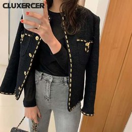 Discount long tweed coat Spring Autumn Black Tweed Jackets Women Chic Solid O-Neck Coat Female Casual Long Sleeve Slim Tops Ropa De Mujer