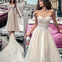 Plus Size Corset Shirts Australia - Charming Beading Sweetheart Neckline Lace Corset Wedding Dresses With Long Wrap Luxury Beaded Chiffon Tea Length Bridal Gowns Plus Size