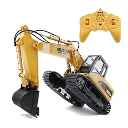 Rc Cars Free Shipping Australia - Huina Toys 350 15 Channel 2 .4g 1  12 Rc Plastic Excavator 1 :12 Rc Car With Charging Battery Kid Toy Christmas Gift Free Shipping