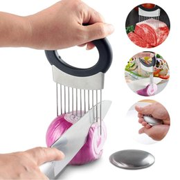 Discount onion slice cutter - Tomato Onion Vegetables Slicer Cutting Aid Holder Guide Slicing Cutter Safe Fork