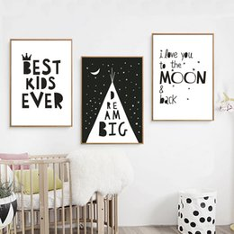 paintings for Australia - Minimalist I Love you Nursery Quotes Canvas Painting Black and White Poster Print Wall Art Pictures for Kids Room Home Decor