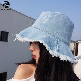 1474fc9a Denim Bucket Hat Women Sping Summer Fisherman Panama Caps Casual Wide Brim Outdoor  Fishing Hats Sun hat