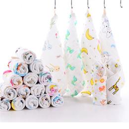 Scarfs Cotton Printed Australia - Baby Towel High Density Printing six-layer Gauze Cotton Square Scarf High Quality Cartoon Infant Baby Saliva Towel 25x25cm Toallas 7414