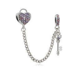 $enCountryForm.capitalKeyWord UK - Fit Sterling Silver Bracelet Heart Locker key Safety Chain Crystal European Stopper Clip Lock Charm Fits pandora Bracelet jewelry findings