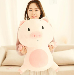 Toy Doll Blankets Australia - Squishy hug pig Stuffed toys Doll Plush eyes Piggy Toy Pink Animals Soft Plushie Hand Warmer Blanket