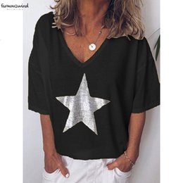 T shirTs sTars online shopping - Plus Size S T Shirt Xl Women V Neck Sexy Stars Loose Casual Short Sleeve Ladies Clothing V Neck Bottoming
