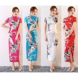 traditional chinese tang suits NZ - Satin Women Sexy Split Dress Cheongsams Tight Bodycon Long Dress Floral Kimonos Chinese Traditional Style Costumes Tang Suit