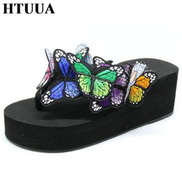 $enCountryForm.capitalKeyWord Australia - HTUUA 9 Color Fashion Handmade Butterfly Slippers Women Beach Flip Flops Shoes Summer Slides Wedge Platform Sandals SX126