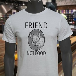 $enCountryForm.capitalKeyWord Australia - FRIEND NOT FOOD PIG BLACK VEGAN VEGETARIAN BACON Mens White T-Shirt Men Women Unisex Fashion tshirt Free Shipping