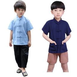 137ceb13f9523 8 Photos Acheter en ligne Costumes de linge pour garçon-Chinois  traditionnel Kungfu Costumes Enfants Tang Vêtements