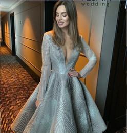 fe4985ed03 Evening dress Ziad naked Yousef aljasmi V-Neck Silver Crystals Long sleeve  Ball gown V-Neck Knee length dress kim kardashian zag