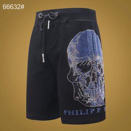 Venta al por mayor de Marca P para hombre cráneos Pantalones Ropa de diseño de lujo Manga corta hip hop Pantalones Ropa de playa Punk de alta calidad Quick Dry Silver Asia Tamaño M-3XL