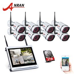 "12 Security Camera System Australia - ANRAN 8 Channel 1080P Wireless NVR Kit Wifi CCTV Camera System 12"" LCD Monitor Screen 2MP HD Outdoor Security Wifi Camera Kit"