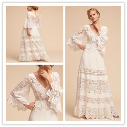 Wholesale plus bell sleeve dresses resale online - 2019 Plus Size BHLDN Wedding Dresses Lace Bell Sleeve Country V Neck Bohemian Wedding Dress Full Length Lace Beach Bridal Gown