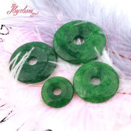 donut pendants NZ - 35 40 45mm Ring Donut Round Smooth Green Jades Pendant Stone Beads 1 Pcs,For DIY Necklace Pandant Jewelry Making,Free Shipping