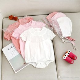 $enCountryForm.capitalKeyWord Australia - INS Summer Toddler Baby Girls Blank Jumpsuits with Hat 2pieces Suits Ruffles Short Sleeve Lace Round Collar Beige Bodysuit Baby Romper 3-18M