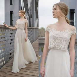 $enCountryForm.capitalKeyWord Australia - Two Piece BOHO Sheath Wedding Dresses 2019 Lace Appliques Bodice Illusion Neckline Chiffon A Line Romantic Bohemian Bridal Dresses Summer