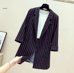 women black white striped jacket Canada - Single Breasted Striped Women Blazer Pockets Thin Jackets Female Blazers Outerwear Plus Size High Quality