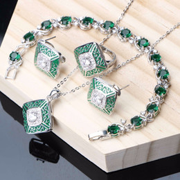 $enCountryForm.capitalKeyWord Australia - 925 Silver Jewelry Women Bridal Jewelry Sets Green Cubic Zirconia Fashion Ring Earrings Necklace Bracelet Set Wedding Gifts