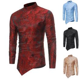 Shirts Stand Up Collars Australia - Floral Paisley Foil Print Slant Cut Open Shirt Mens Oblique Button-Up Stand Collar Skinny Top Vintage Slim Top For Men White #444827