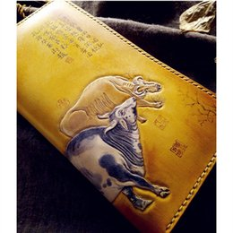 Handmade leatHer ladies wallets online shopping - Handmade Five Oxen Wallets Antique Ink Painting Purses Women Men Long Clutch Vegetable Tanned Leather Wallet Card Holder