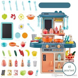 girls kitchen play set Australia - 27pcs 37pcs 43pcs set Kids Kitchen Toys Cooking Toy Play for Children Toys Pretend Play With Light Sound Effect Funny House Miniature gift