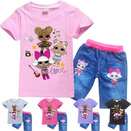 Zebra Print Girls Pants Australia - 5 colors LOL Dolls Printed kids clothing sets 4-12Y Girls T-shirt + Pants 2 Piece Sets kids designer clothes DHL JY75