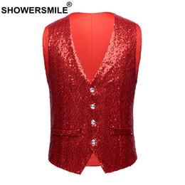 Slim Fit Sleeveless Jacket Australia - SHOWERSMLE Rock Vests For Men Red Sequin High Street Waistcoat Male Stage Punk Autumn Winter Slim Fit Sleeveless Jacket Gilet