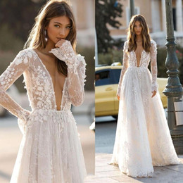 Chinese  2020 Berta Deep V Neck Bohemian Wedding Dresses Lace Appliques Sexy Backless A Line Beach Wedding Dress Long Sleeve Boho Chic Bridal Gowns manufacturers