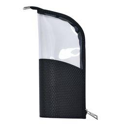 $enCountryForm.capitalKeyWord NZ - Fashion Pouch Pencil Case Travel Waterproof Brush Holder Portable Stand-up Organizer Zipper Closure Makeup Bag Half Transparent