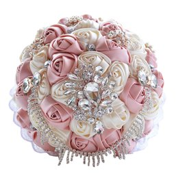 Bridal Brooch Flower UK - SILK Rose Flower Handmade Wedding Bouquet Brooch Pearls Crystal Bridal Flowers