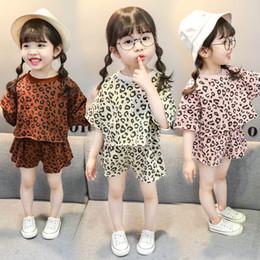 Leopard Kids T Shirts Australia - 2019 Summer leopard kids tracksuit casual Kids Sets cute Girls Outfits T-Shirt+shorts Girl Suit kids designer clothes girls clothes A4897