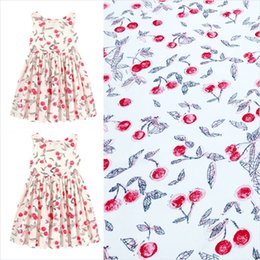 Wholesale Hand Painted Cherry Four Way Stretch White Polyester Fabric for Girl Summer Dresses Sundress Skirts Shirt Blouse Pants DIY