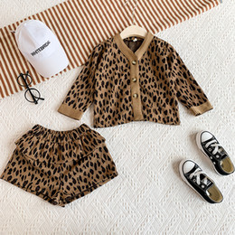 fashion kids jacket korean Canada - Retail kids designer tracksuits girls leopard printed 2pcs suits set(cardigan+short) fashion cute Korean baby tracksuit christmas outfits