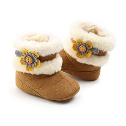 boots beautiful 2019 - Baby Boots Girl 2018 Beautiful Flowers Plus Velvet Soft Bottom Baby Toddler Boots Soft Plush Warm discount boots beautif