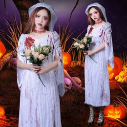 Wholesale women sexy play costume for sale - Group buy Halloween costume female role playing cosplay scary sexy skinny ghost bride costume adult women vampire dress with headwear